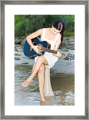 Guitar Woman Framed Print by Jorgo Photography - Wall Art Gallery