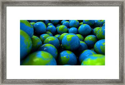 Gum Ball Earth Globes Framed Print by Allan Swart