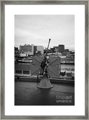 Gun Emplacements On The Flight Deck Of The Uss Intrepid At The Intrepid Sea Air Space Museum Framed Print by Joe Fox