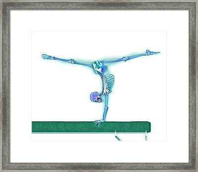Gymnast Balancing On A Beam Framed Print by Gustoimages/science Photo Library