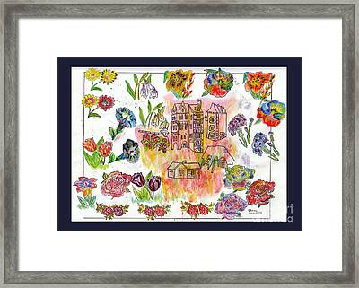 Habitations Et Fleurs / Housing And Flowers Framed Print by Dominique Fortier