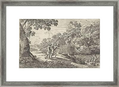 Hagar And The Angel, Herman Van Swanevelt Framed Print by Herman Van Swanevelt