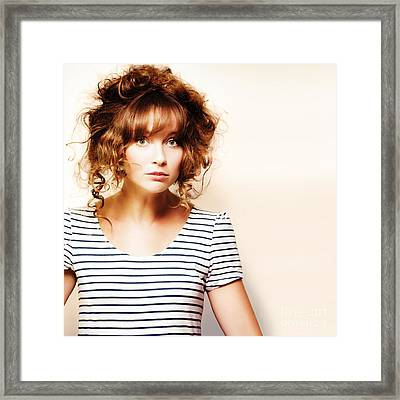 Hairdressing Woman With Knotty Hair Style Framed Print by Jorgo Photography - Wall Art Gallery