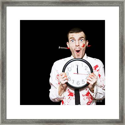 Halloween Ghoul Holding Clock Set To Midnight Framed Print