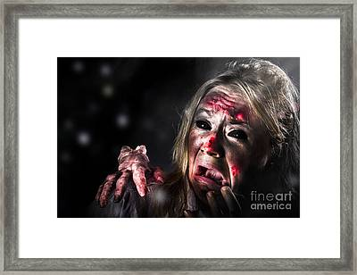 Halloween Horror. Zombie In Fear From Evil Thing Framed Print