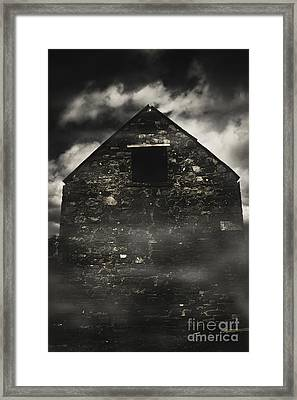 Halloween House Of Horrors. Scary Stone Building Framed Print