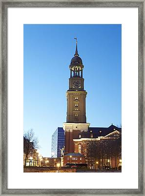 Hamburg - St Michaelis Church In The Evening Framed Print by Olaf Schulz