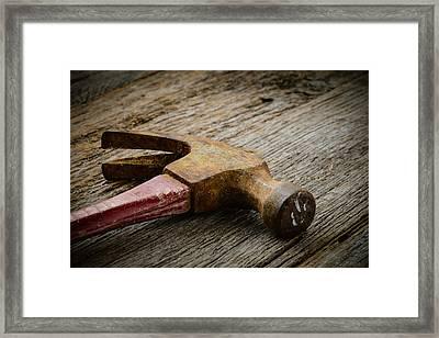 Hammer On Rustic Hardwood Floor Framed Print
