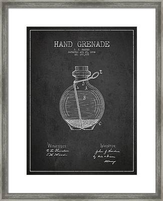 Hand Grenade Patent Drawing From 1884 Framed Print by Aged Pixel