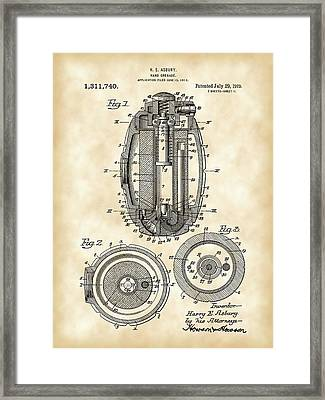 Hand Grenade Patent 1917 - Vintage Framed Print by Stephen Younts