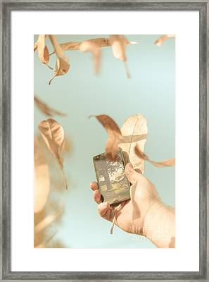 Hand Of Man With Smart Phone Technology In Nature Framed Print by Jorgo Photography - Wall Art Gallery