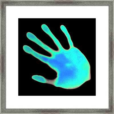 Hand Print On Thermochromic Paper Framed Print