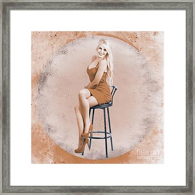Happy American Style Pin-up Girl On Retro Chair Framed Print by Jorgo Photography - Wall Art Gallery