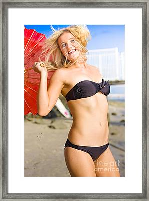 Happy And Excited Woman Jumping At Beach Framed Print by Jorgo Photography - Wall Art Gallery