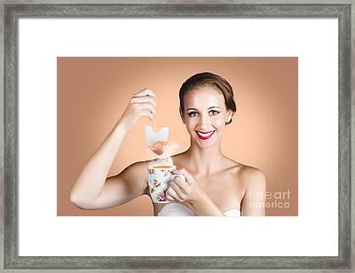 Happy Beautiful Pin Up Girl Drinking Tea Or Coffee Framed Print