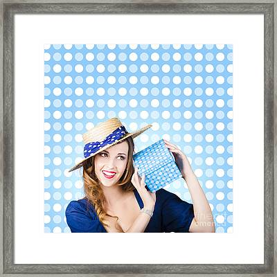 Happy Birthday Girl Holding Present Framed Print by Jorgo Photography - Wall Art Gallery