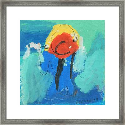 Happy Blue Fish Framed Print by Artists With Autism Inc