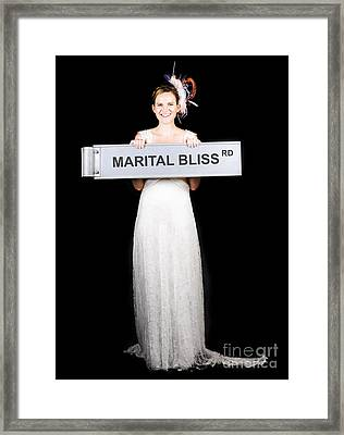 Happy Bride On The Road To Marital Bliss Framed Print by Jorgo Photography - Wall Art Gallery