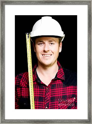Happy Builder With A Tape Measure Framed Print