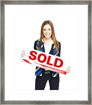 Happy Business Woman Holding Sold Sign Framed Print by Jorgo Photography - Wall Art Gallery