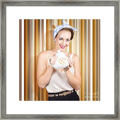 Happy Cafe Waitress Holding Hot Coffee Kettle Framed Print