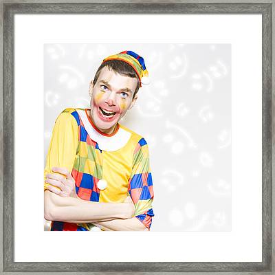 Happy Colorful Clown With Big Smile Framed Print