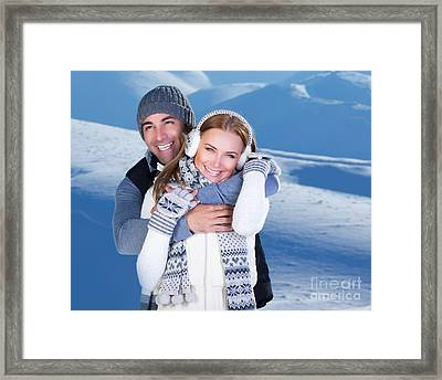 Happy Couple Playing Outdoor At Winter Mountains Framed Print by Anna Om