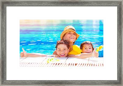 Happy Family In The Pool Framed Print by Anna Om