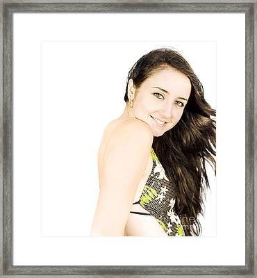 Happy Female In Swimming Togs Framed Print by Jorgo Photography - Wall Art Gallery