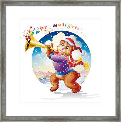 Happy Holidays Bear Framed Print by Ned Levine