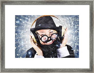Happy Nightclub Man Dancing At Silent Disco Party Framed Print by Jorgo Photography - Wall Art Gallery