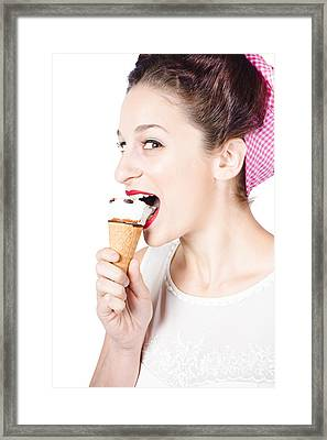 Happy Pin-up Woman Eating Ice Cream Closeup Framed Print by Jorgo Photography - Wall Art Gallery