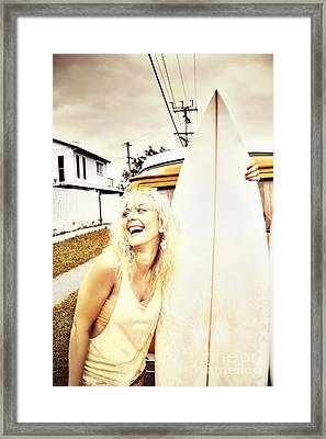Happy Retro Surfer Framed Print