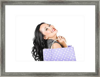 Happy Shopping Woman Smiling With Sale Purchase Framed Print by Jorgo Photography - Wall Art Gallery
