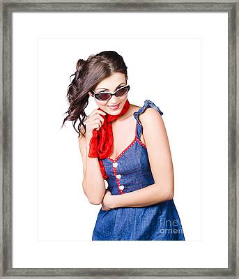 Happy Smiling Young Pinup Girl In Rockabilly Style Framed Print