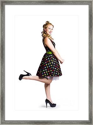 Happy Woman In Retro Dress Framed Print by Jorgo Photography - Wall Art Gallery