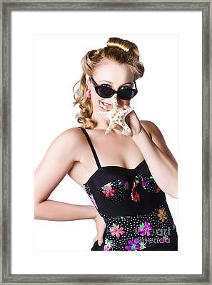 Happy Woman In Swimming Costume Framed Print by Jorgo Photography - Wall Art Gallery