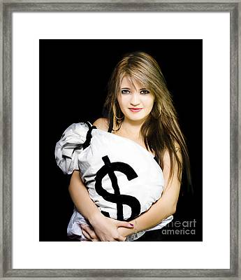 Happy Woman With A Bag Of American Dollar Bills Framed Print by Jorgo Photography - Wall Art Gallery