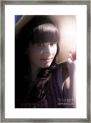 Happy Woman With Sunhat Framed Print by Jorgo Photography - Wall Art Gallery