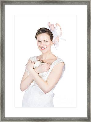 Happy Young Bride Holding Purse Framed Print by Jorgo Photography - Wall Art Gallery