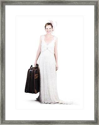 Happy Young Bride Holding Suitcase Framed Print by Jorgo Photography - Wall Art Gallery