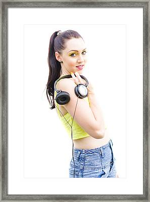 Happy Young Woman With Headphones Framed Print by Jorgo Photography - Wall Art Gallery