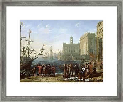 Harbor Scene Framed Print by Claude Lorrain