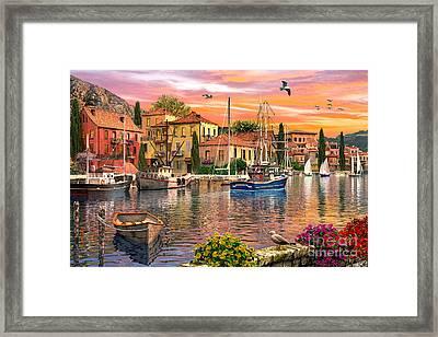 Harbour Sunset Framed Print by Dominic Davison