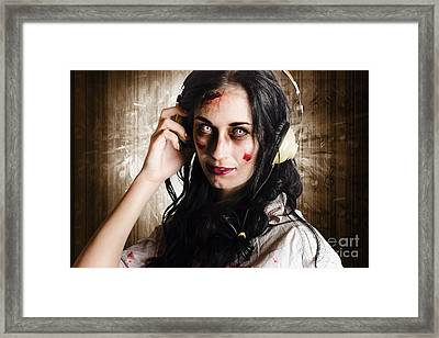 Hard Rock Zombie Listening To Death Metal Music Framed Print by Jorgo Photography - Wall Art Gallery