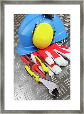 Hardhat And Tools Framed Print by Christian Lagerek/science Photo Library