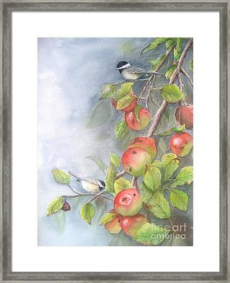 Harvest Chickadees Framed Print by Patricia Pushaw