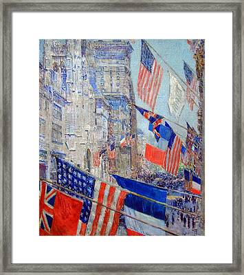 Hassam's Allies Day May 1917 -- The Avenue Of The Allies Framed Print by Cora Wandel