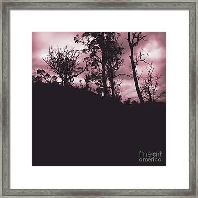Haunted Horror Forest In Twisted Red Darkness Framed Print by Jorgo Photography - Wall Art Gallery
