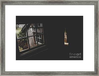 Haunted House Window View Of Open Door In Darkness Framed Print